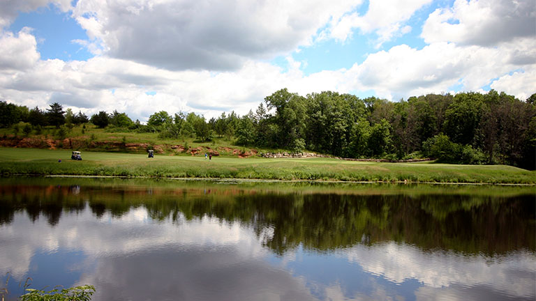 Mystic Lake with hole 1 on the Lake Course