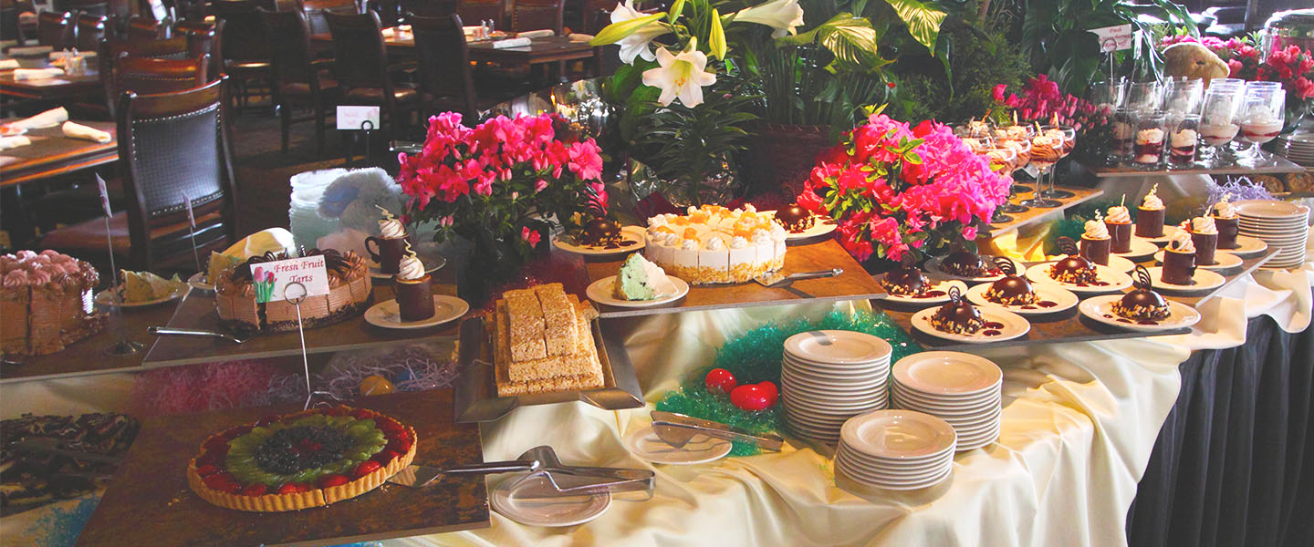 Easter buffet with desserts.