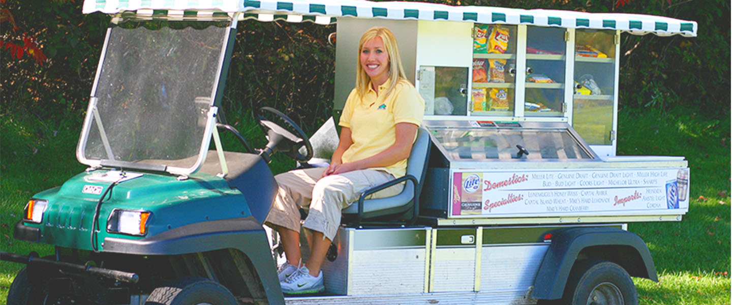 The food and beverage cart available on the courses for refreshments while you golf.